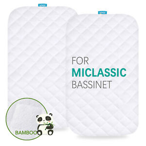 Waterproof-Bassinet-Mattress-Pad-Cover-for-MiClassic-Soft-Bamboo-Surface-2-Pack