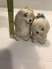Vintage Lefton Japan White Maltese Puppy Dog Salt & Pepper Shakers Huggers H93