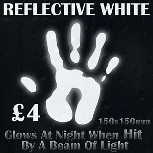 White Reflective Vinyl Sticker Glows At Night When Hit By a Beam of Light