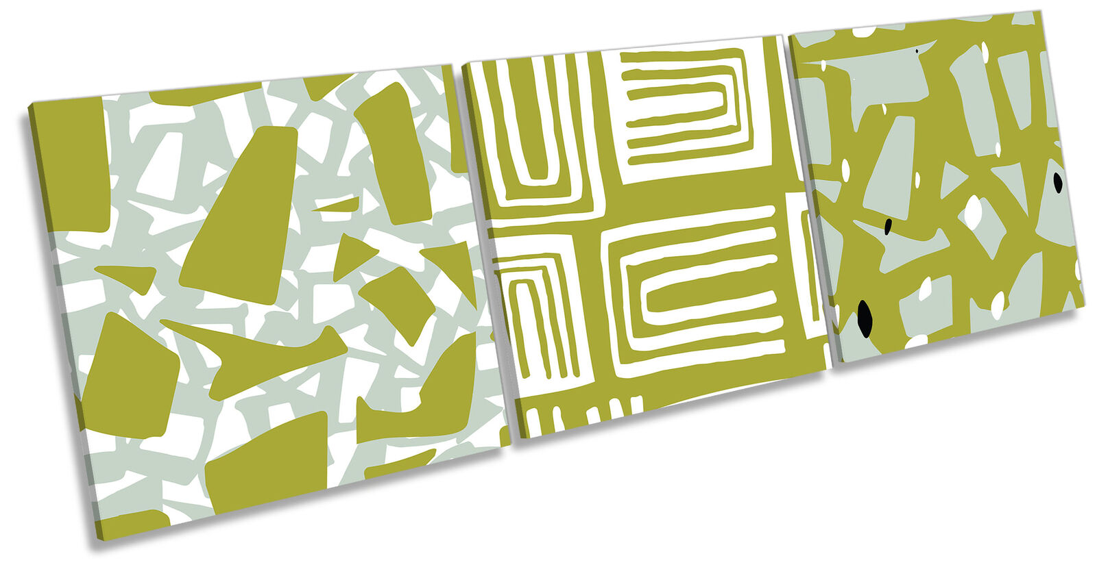 Minimalistic Bold Geometric Set of 3 CANVAS WALL ART Print Treble Grün