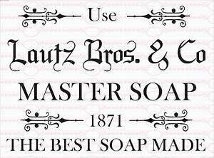 Bügelbild Seife Englische Master Soap Antik Shabby Vintage A4 No