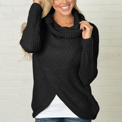 US Womens Casual Cowl Neck Wrap Long Sleeve Chunky Knit Sweater Pullover Jumper