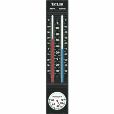 Taylor 5329 Black Indoor Outdoor Thermometer w/ Hygrometer