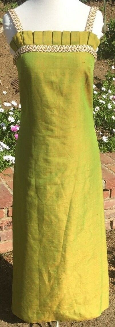 Vintage Stunning Retro Ball Gown Maxi Dress Green Beaded Sleeveless Size 4 Small