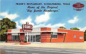 Texas Tx Postcard 1966 Schulenburg Franks Restaurant Big Jumbo