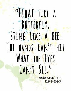 Muhammad Ali Quote Wall Art Print Float Like A Butterfly Sting