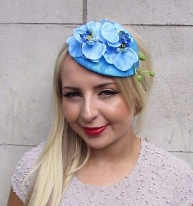 Sky Light Blue Orchid Flower Fascinator Teardrop Races 50s Headband Vintage 3260