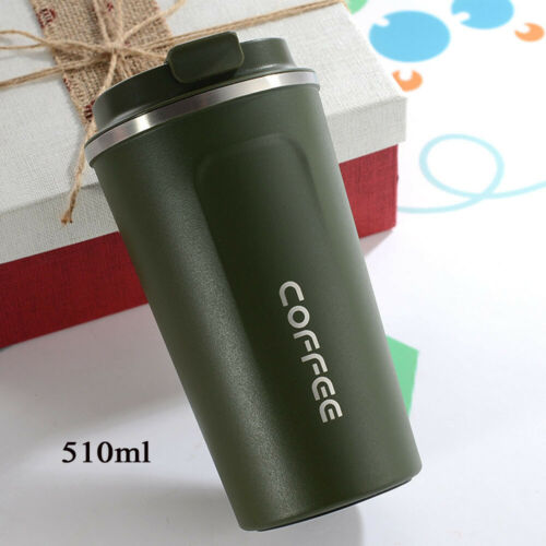 Insulated Travel Coffee-Mug Cup Thermal Stainless Steel Flask Vacuum Leakproof