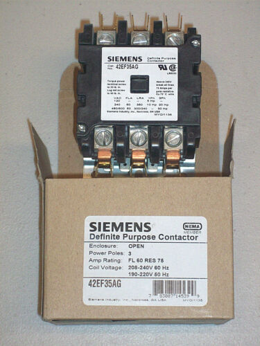 75 Amp Resistive 3 Pole Siemens Contactor 60 Amp 208 // 240 V 42EF35AG Coil