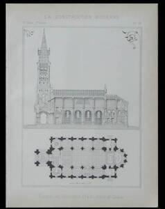 EGLISE DE DROCOURT -1896- PLANCHE ARCHITECTURE- GARIN - France - Thme: Architecture Période: XIXme et avant - France