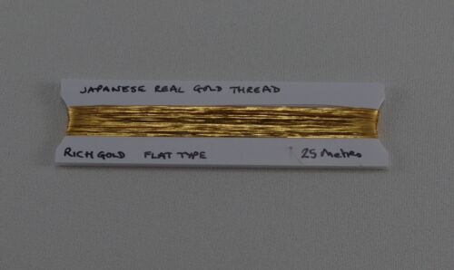 Real Gold Thread Flat ribbon thread Embroidery 25 metres Goldwork Rich Gold