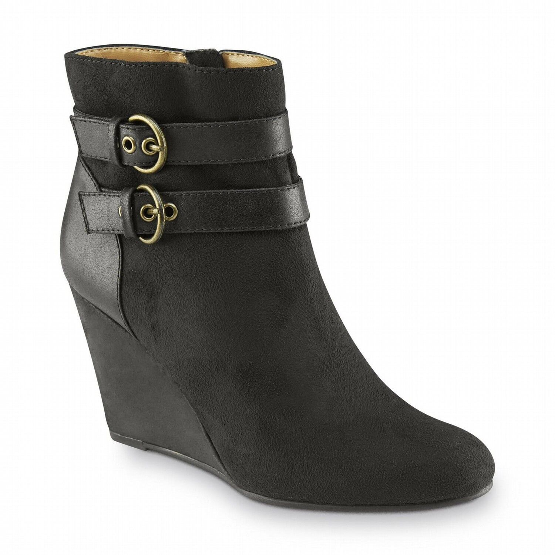 Jaclyn Smith Women's  Ellis Black Wedge Bootie Shoes 30614 Size 8 Medium