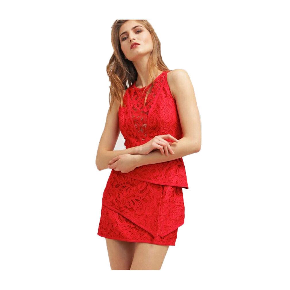 398 BBGMAXAZRIA Bränd röd Hanah Scroll Lace Tiröd Dress