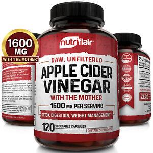 ▶ Apfelessig KAPSELN - 1300mg 120 vegan Pillen Detox Keto Gewichtsverlust