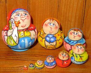 Matryoshka-Russian-Nesting-Dolls-MINIATURE-Tiny-Family-10-Goose-LATISHEVA-signed