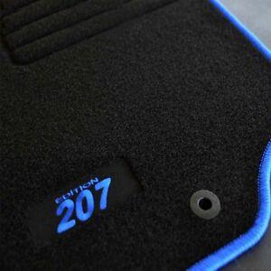 4 tapis sol peugeot 207 207 sw moquette logo bleu specifique ebay. Black Bedroom Furniture Sets. Home Design Ideas