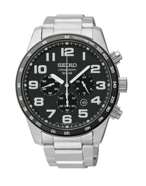 New Seiko SSC229 Solar Chronograph Black Dial Stainless Steel Men's Watch