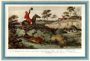 FOX-HUNTING-ON-HORSEBACK-FOX-HOUNDS-RARE-COLOR-SPORTING-PRINT-FOXHOUNDS-HUNT