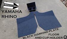 Yamaha Rhino Black Rubber Coated Diamond Plate FLOOR & CUP Holder 2004-2013