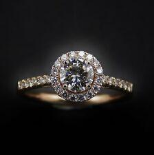 Solitaire en Or rose 18k Diamant Brillant 0.54 Ct E-VVS2  + 0.24 Ct Diams.