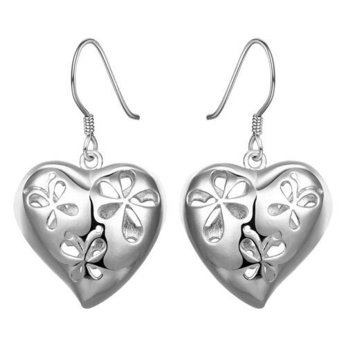 Señora ohrhänger corazón rojo circonita real Sterling plata 925 aretes