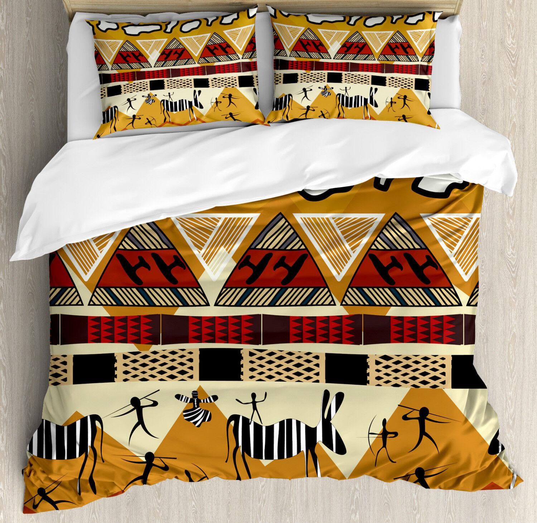 Animal Duvet Cover Set with Pillow Shams Hunt Zebra Tribe Ethnic Print
