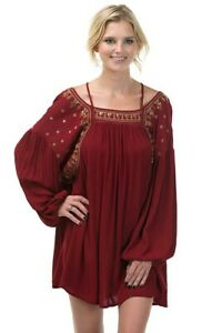 Sexy-Burgundy-Long-Sleeve-Tunic-Dress-w-Embroidery-Sequins-Bow-Arrow-S-M-L