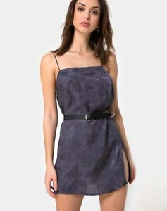 MOTEL-ROCKS-Datista-Slip-Dress-in-Satin-Rose-Grey-Size-Extra-Large-XL-mr74