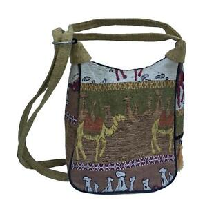 0dd2f73f4d Image is loading Tapestry-Camel-Shoulder-Bag-Handbag-Purse-Cotton-Ethnic-