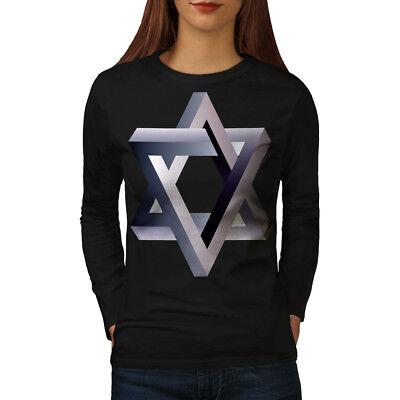 Wellcoda Ornament Star Womens Long Sleeve T-shirt Vibrant Casual Design