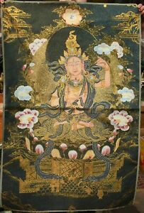 "36"" Tibet Cloth Silk Buddhism White Tara Goddess Thangka Tangka Mural Painting"