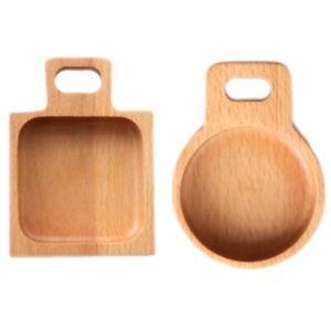2-StueCke-Kleine-Teller-Holz-Geschirr-Lebensmittel-Snack-Dessert-Tee-Gericht-C3M4