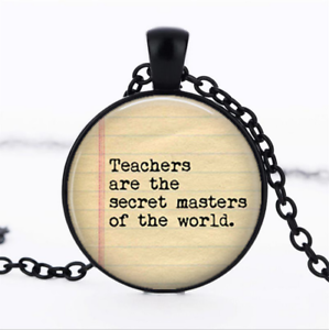 Les enseignants sont le secret en verre noir cabochon Chaîne Collier Sautoir Pendentif Wholesale