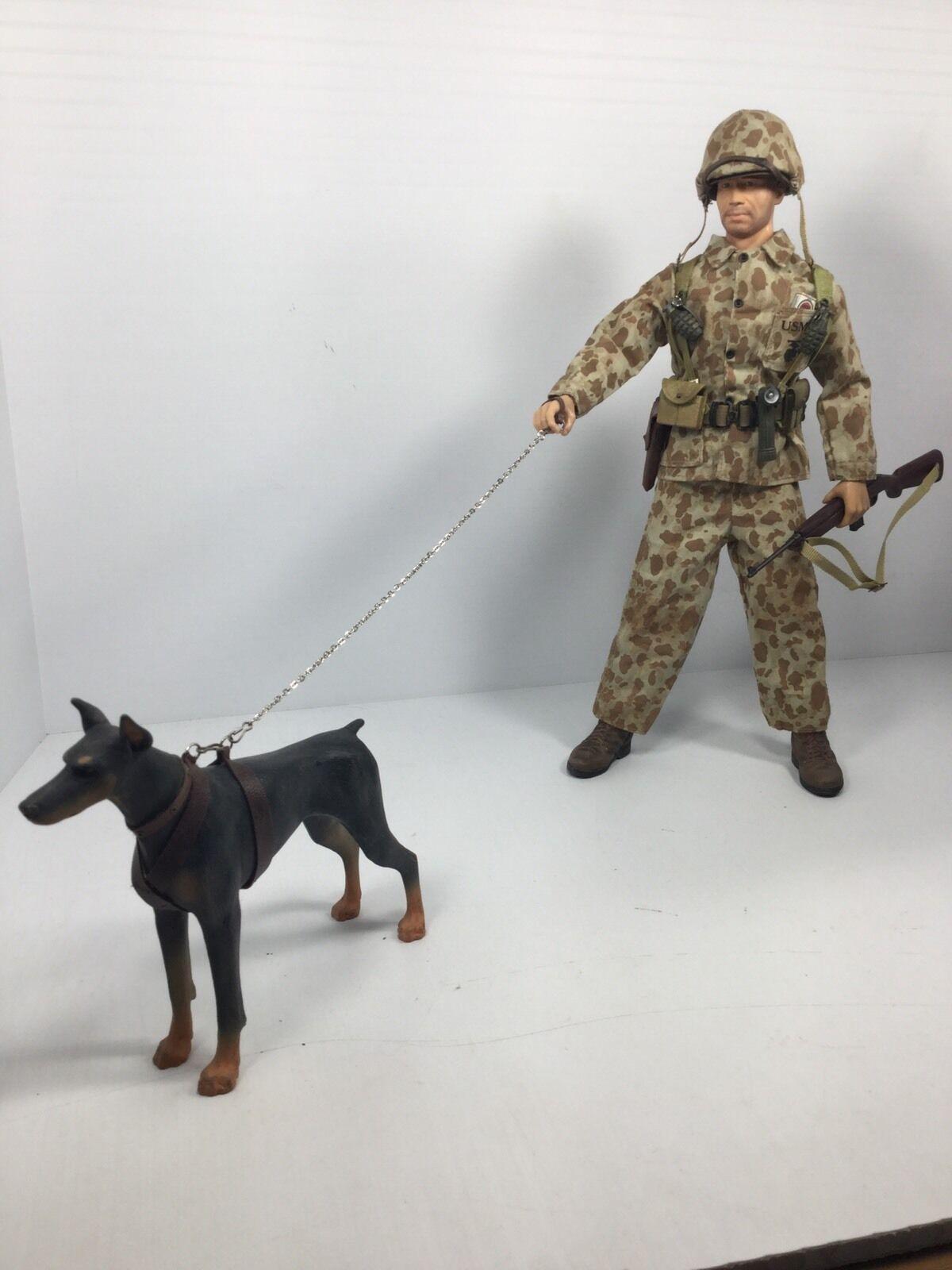 1/6 DRAGON USMC MARINE K-9 DOG TEAM BUNKER/CAVE CLEARING DOBERMAN WW2 BBI DID