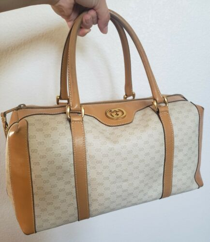 Vtg Gucci Tan GG Monogram Signature Boston Doctor… - image 1