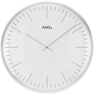 AMS-9540-Wanduhr-Quarz-analog-weiss-silbern-rund