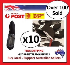 10-x-BLACK-GOLF-IRON-HEAD-COVERS-with-Numbers-Both-Side-and-Display-Window-Cover