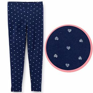 carter s baby toddler girl navy blue glitter silver heart pattern