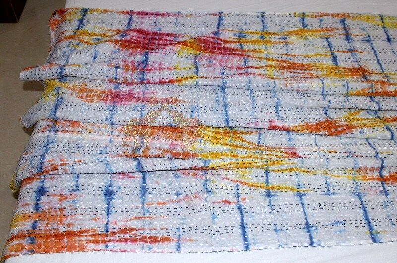 Handmade Tie Dye 100% Cotton, Kantha Bed Cover Bedspread Quilt Queen Multi-color