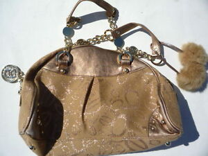 Bebe-beige-cloth-Gold-leather-pocket-book-Excellent-cosmetic-condition