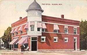 Allegan-Michigan-Post-Office-General-Exterior-View-Antique-Postcard-V21432