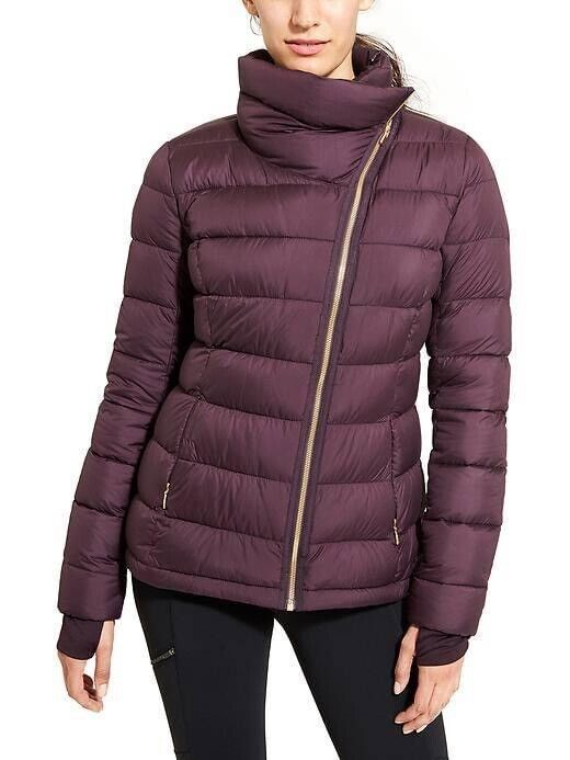 Athleta Downabout Jacket Size L Raisin Women's Down Outerwear Asymmetrical Zip