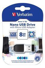 Verbatim Store n Go Nano OTG Adapter 8GB USB 2.0 Flash Stick Pen Memory Drive