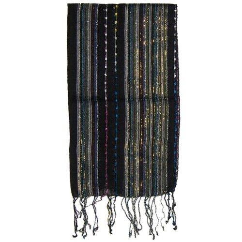 LUREX écharpe noir rayé 170x28cm viscose Femmes Accessoire vêtements foulard