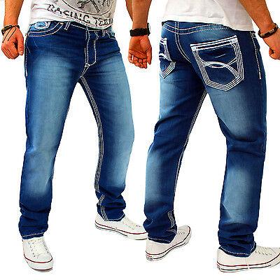 Herren Jeans Designer Hose Kosmo Cargo Blau dicke Naht Nähte Lupo Clubwear NEU