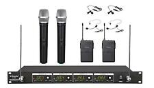 4 Channel VHF Handheld & Lapel Headset Wireless Microphone System New 380HL