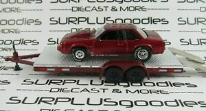 Greenlight-1-64-LOOSE-Track-Day-Red-1989-FORD-MUSTANG-LX-5-0-Drag-w-Car-Trailer