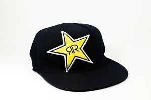 ROCKSTAR-Energy-Drink-RR-Black-Snapback-cap-hat-adjustable-one-size-fits-all