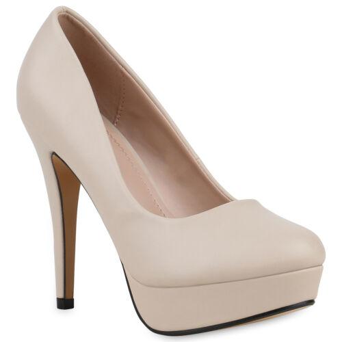 893432 Damen Plateau Pumps Stiletto High Heels Party Schuhe Leder-Optik Mode