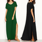 ZANZEA Women Plus Size T-Shirt Dress Short Sleeve Loose Solid Long Maxi Dress